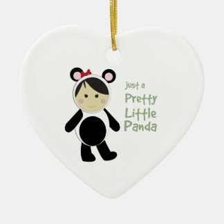 Pretty Little Panda Double-Sided Heart Ceramic Christmas Ornament