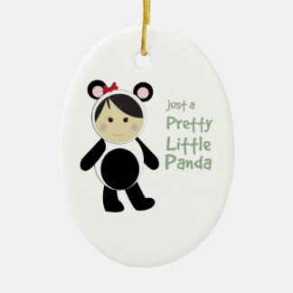 Pretty Little Panda Double-Sided Oval Ceramic Christmas Ornament