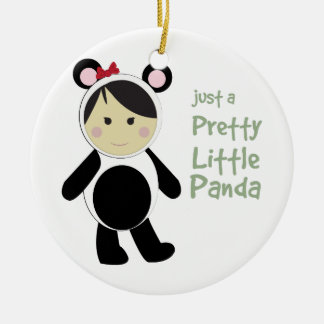 Pretty Little Panda Double-Sided Ceramic Round Christmas Ornament