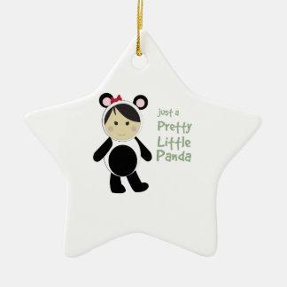 Pretty Little Panda Double-Sided Star Ceramic Christmas Ornament