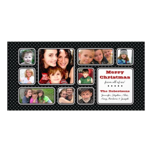 Pretty Little Polka Dot Collage Photo Card - Black