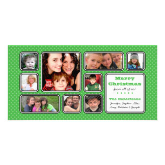 Pretty Little Polka Dot Collage Photo Card - Green