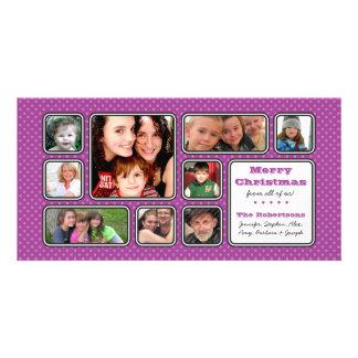 Pretty Little Polka Dot Collage Photo Card -Purple