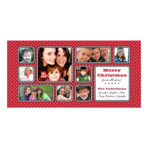 Pretty Little Polka Dot Collage Photo Card - Red