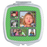 Pretty Little Polka Dots Photo Collage Compact Makeup Mirror