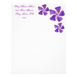 Pretty 'Little Purple Flowers' Floral Design Custom Letterhead