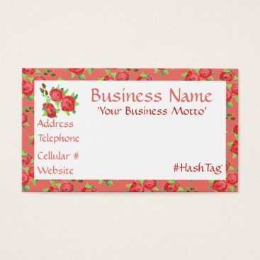 Professional Business Pretty Little Red And Coral Flowered Business Card