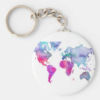 Pretty Little Watercolor Map Keychain