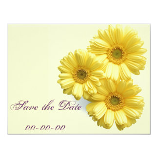 Pretty 'Little Yellow Flowers' Floral Design 4.25x5.5 Paper Invitation Card