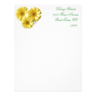 Pretty 'Little Yellow Flowers' Floral Design Letterhead Design