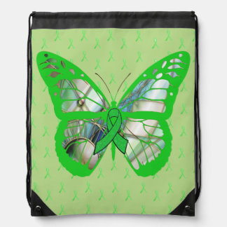 Pretty Lyme Awareness Butterfly with Ribbons Drawstring Backpack