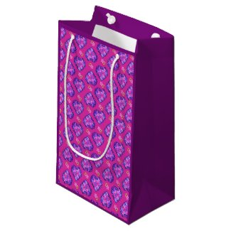 Pretty Magenta Hearts and Flowers Small Gift Bag