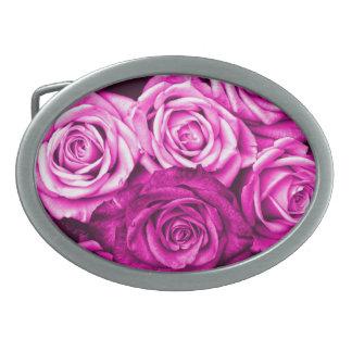Pretty Magenta Pink Roses Flower Bouquet Oval Belt Buckle