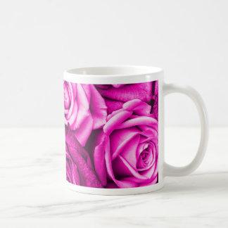 Pretty Magenta Pink Roses Flower Bouquet Classic White Coffee Mug