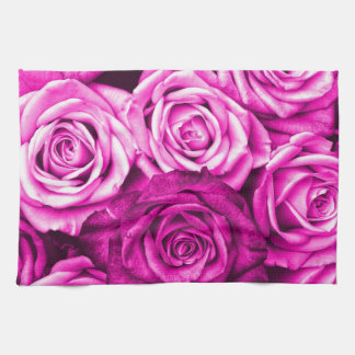 Pretty Magenta Pink Roses Flower Bouquet Hand Towel