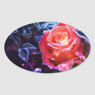 Pretty Magic Frosted Pink Fantasy Rose Garden Oval Sticker