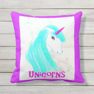 Pretty Magical Mythical Unicorn Graphic Throw Pillow