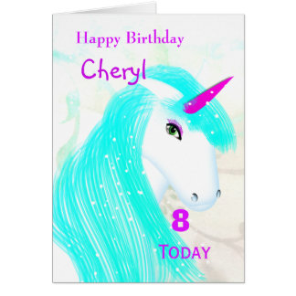 Pretty Magical Mythical Unicorn Personalized Card