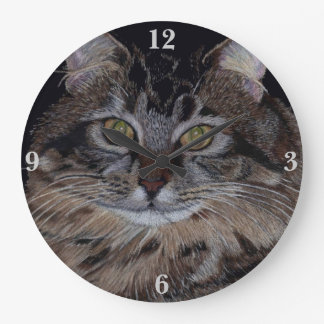 Pretty Maine Coon Cat Large Clock