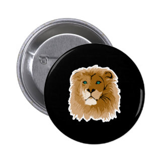 pretty male lion with blue eyes pinback button