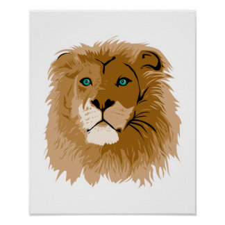 pretty male lion with blue eyes poster