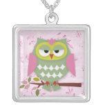 Pretty Mama Owl Square Pendant Necklace
