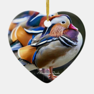 Pretty Mandarin Ducks,  Heart Ornament