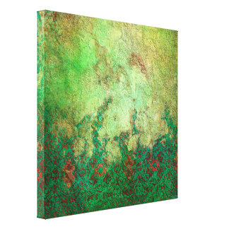 Pretty Marbled Green and Rust Grunge Canvas Print