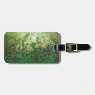 Pretty Marbled Green and Rust Grunge Pattern Luggage Tag