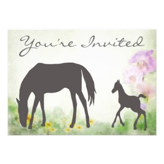 Pretty Mare and Foal Horse Baby Shower Invitation