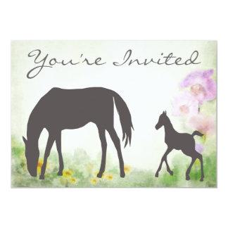 """Pretty Mare and Foal Horse Baby Shower Invitation 5"""" X 7"""" Invitation Card"""