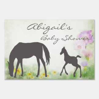 Pretty Mare and Foal Horse Baby Shower Yard Sign