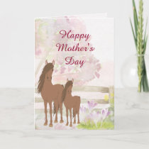 Pretty Mare, Foal and Flowers Horse Mother's Day Card