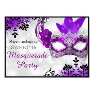 Pretty Mask & Damask Purple Masquerade Sweet 16 Card