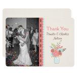Pretty Mason Jar Photo Wedding Thank You Card