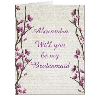 Pretty mauve blossom will you be my bridesmaid card