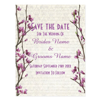 Pretty mauve floral country style save the date postcard