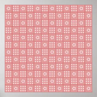 Pretty Mauve Flower Patchwork Quilt Pattern Posters