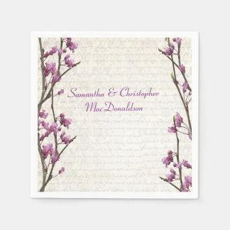 Pretty mauve lilac floral country style wedding standard cocktail napkin