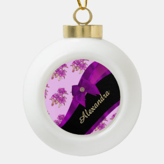 Pretty mauve purple vintage floral pattern ceramic ball christmas ornament