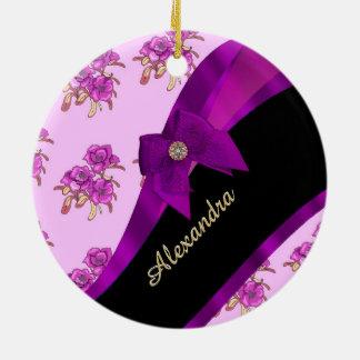 Pretty mauve purple vintage floral pattern ceramic ornament