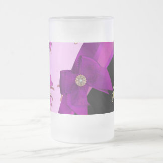 Pretty mauve purple vintage floral pattern frosted glass beer mug