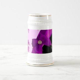 Pretty mauve purple vintage floral pattern 18 oz beer stein