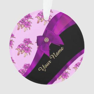 Pretty mauve purple vintage floral pattern ornament