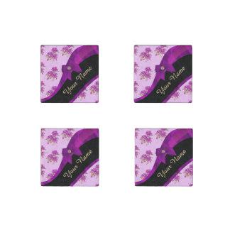 Pretty mauve purple vintage floral pattern stone magnet