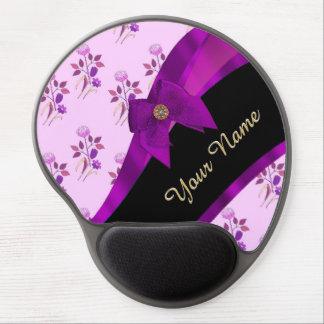 Pretty mauve vintage floral flower pattern gel mouse pad