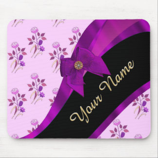 Pretty mauve vintage floral flower pattern mouse pad
