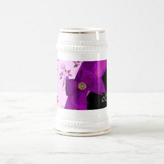 Pretty mauve vintage floral flower pattern 18 oz beer stein
