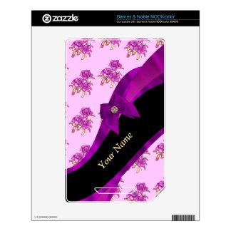 Pretty mauve vintage floral pattern skins for NOOK color