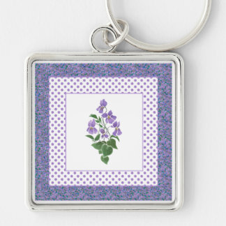 Pretty Mauve Violets Floral and Polka Dot Keychain